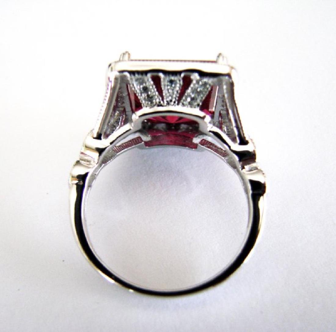 Creation Daimond Ruby Ring 8.61Ct 18k W/g Overlay - 4