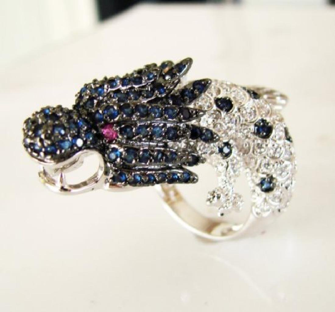 Creation Dia,sph,rb Dragon Ring 3.44Ct 18k W/G Overlay