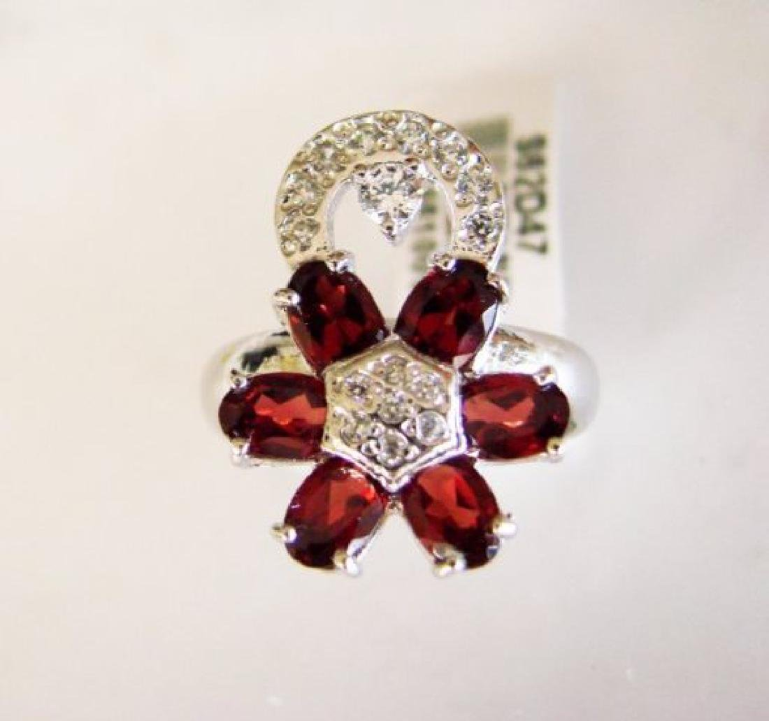 Garnet&Creation Diamond Ringt 4.17Ct 18k W/g Overlay