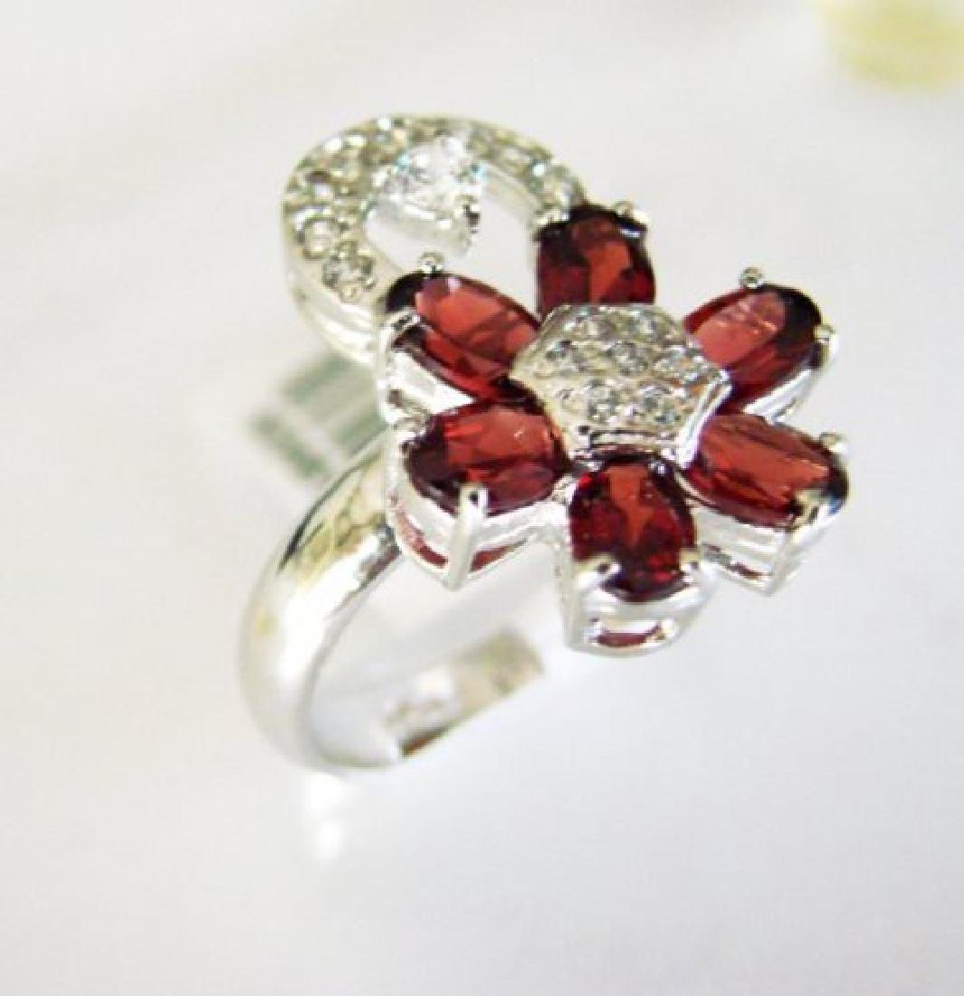 Garnet&Creation Diamond Ringt 4.17Ct 18k W/g Overlay - 2