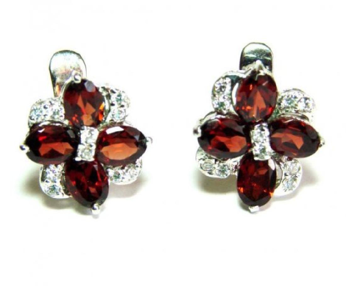 Garnet&Creation Diamond Earrings 9.47Ct18k W/g Overlay