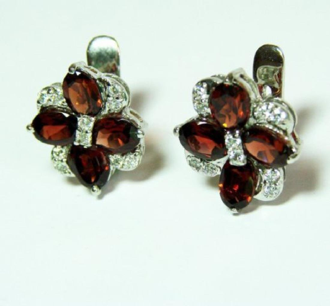 Garnet&Creation Diamond Earrings 9.47Ct18k W/g Overlay - 2