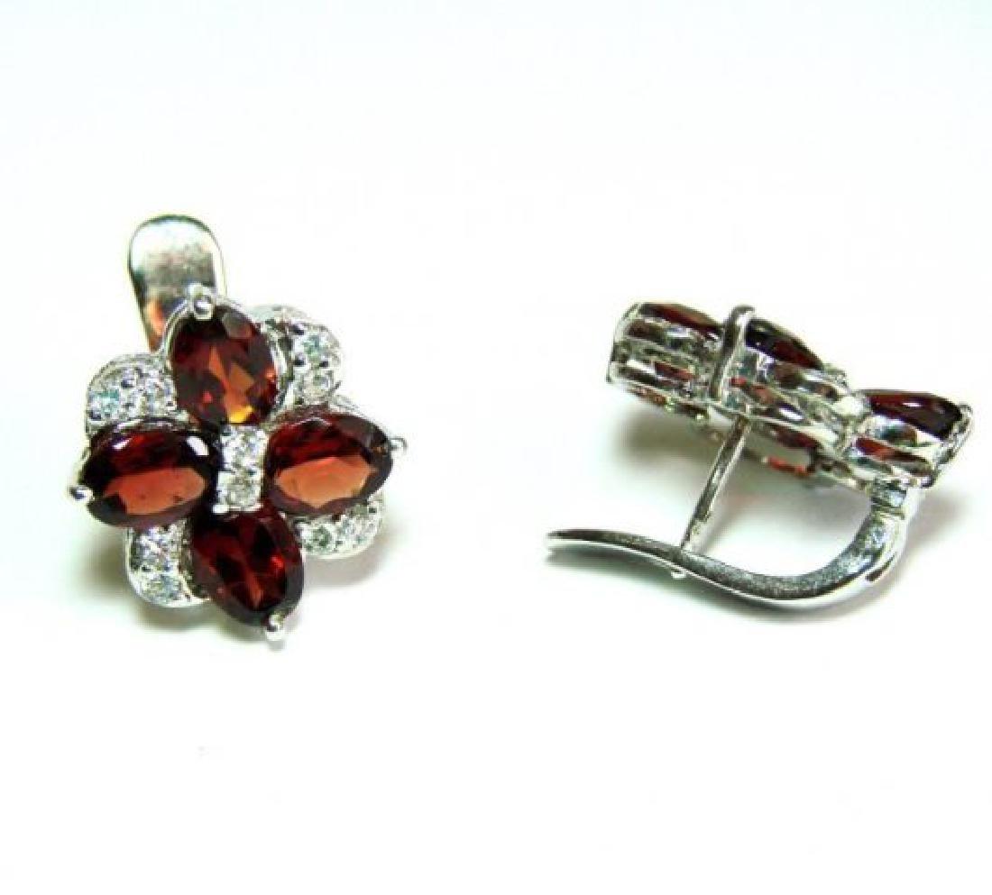 Garnet&Creation Diamond Earrings 9.47Ct18k W/g Overlay - 3