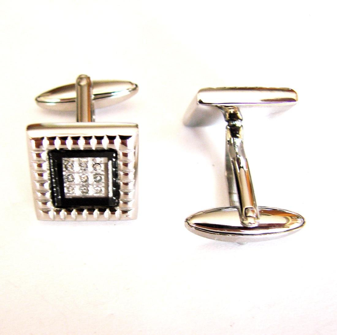 Men Cufflink Creation  Diamond .22Ct 18k W/g Overlay - 2