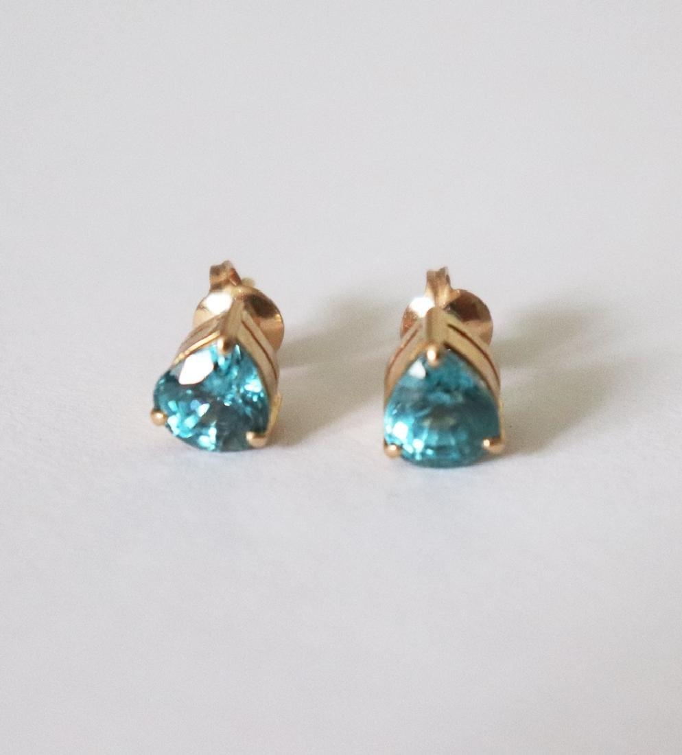 Natural Blue Zircon Stud Earring 7.54Ct 18k Y/g
