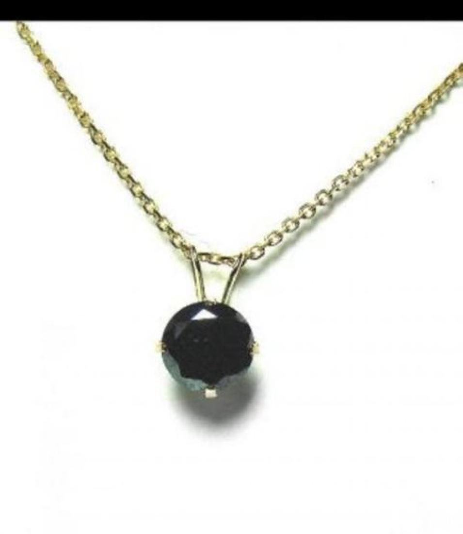 Black Diamond Necklace1.17 Carat 14K Yellow Gold