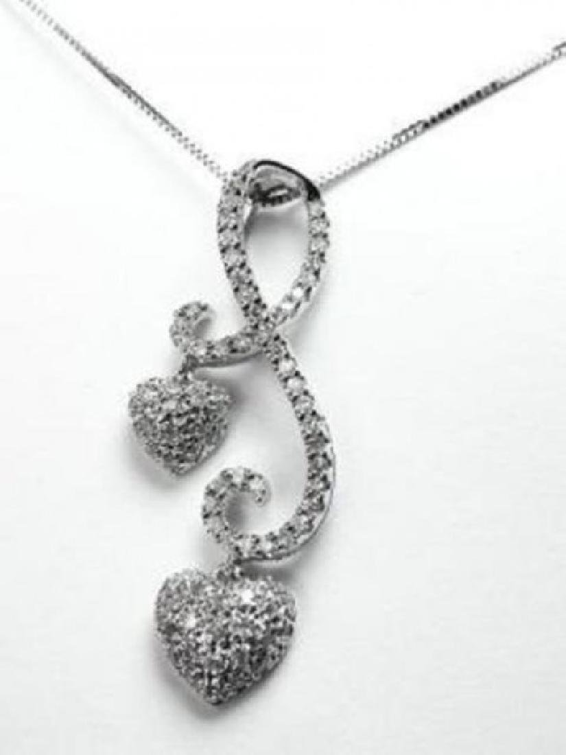 Double Heart Diamond Pendant .85Ct 18K White Gold
