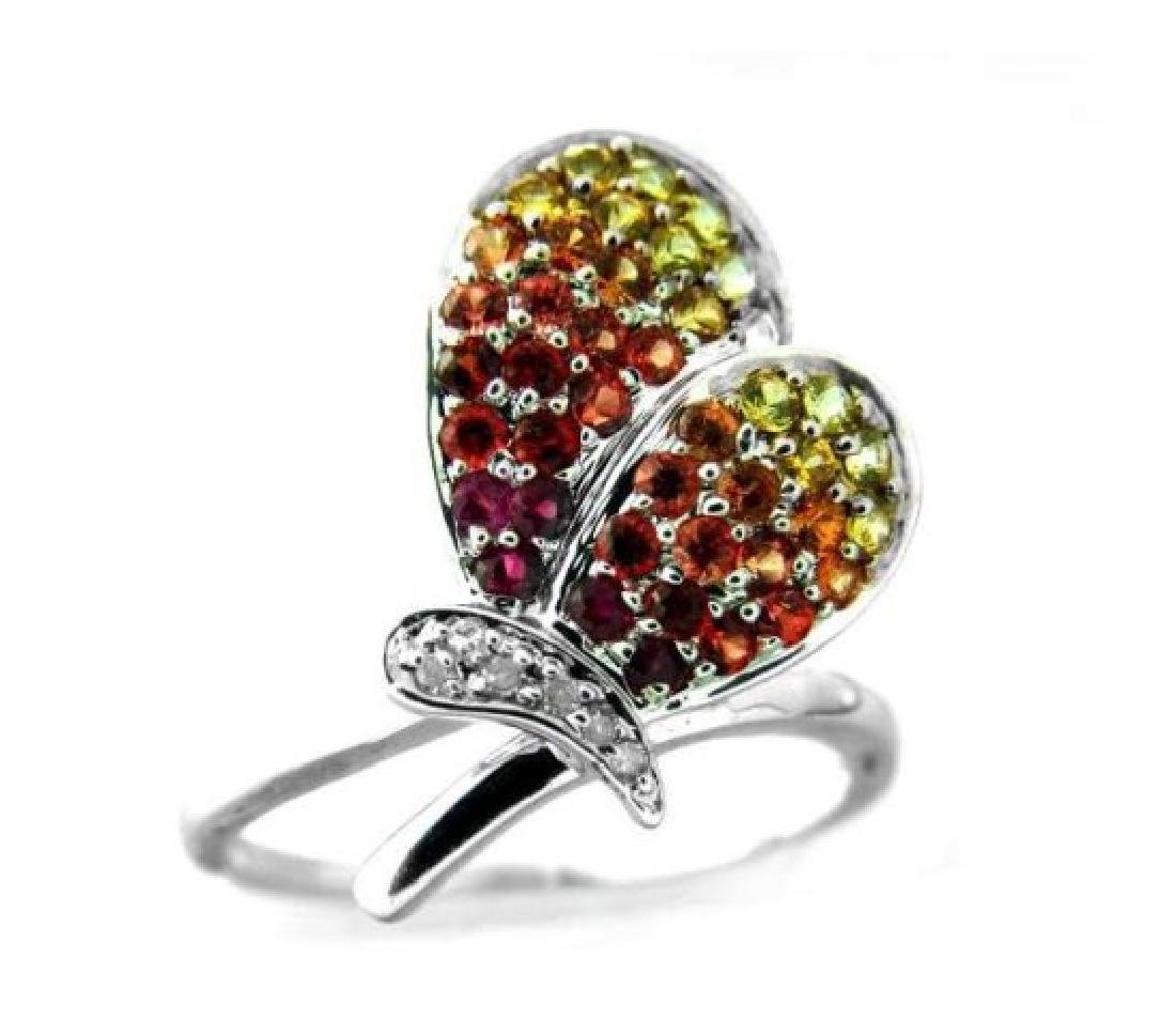 Multi Color Sapphire Butterfly Ring .90 Ct