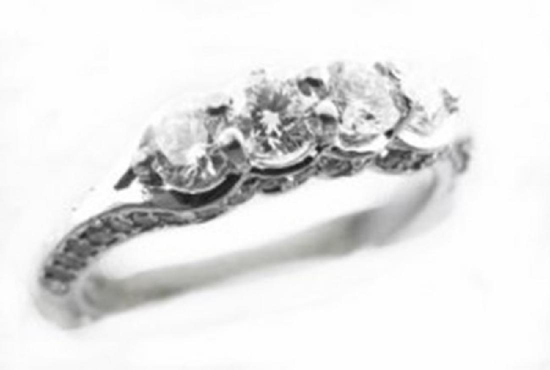 Engagement Diamond Ring : 1.48 Carat 14K White Gold - 2