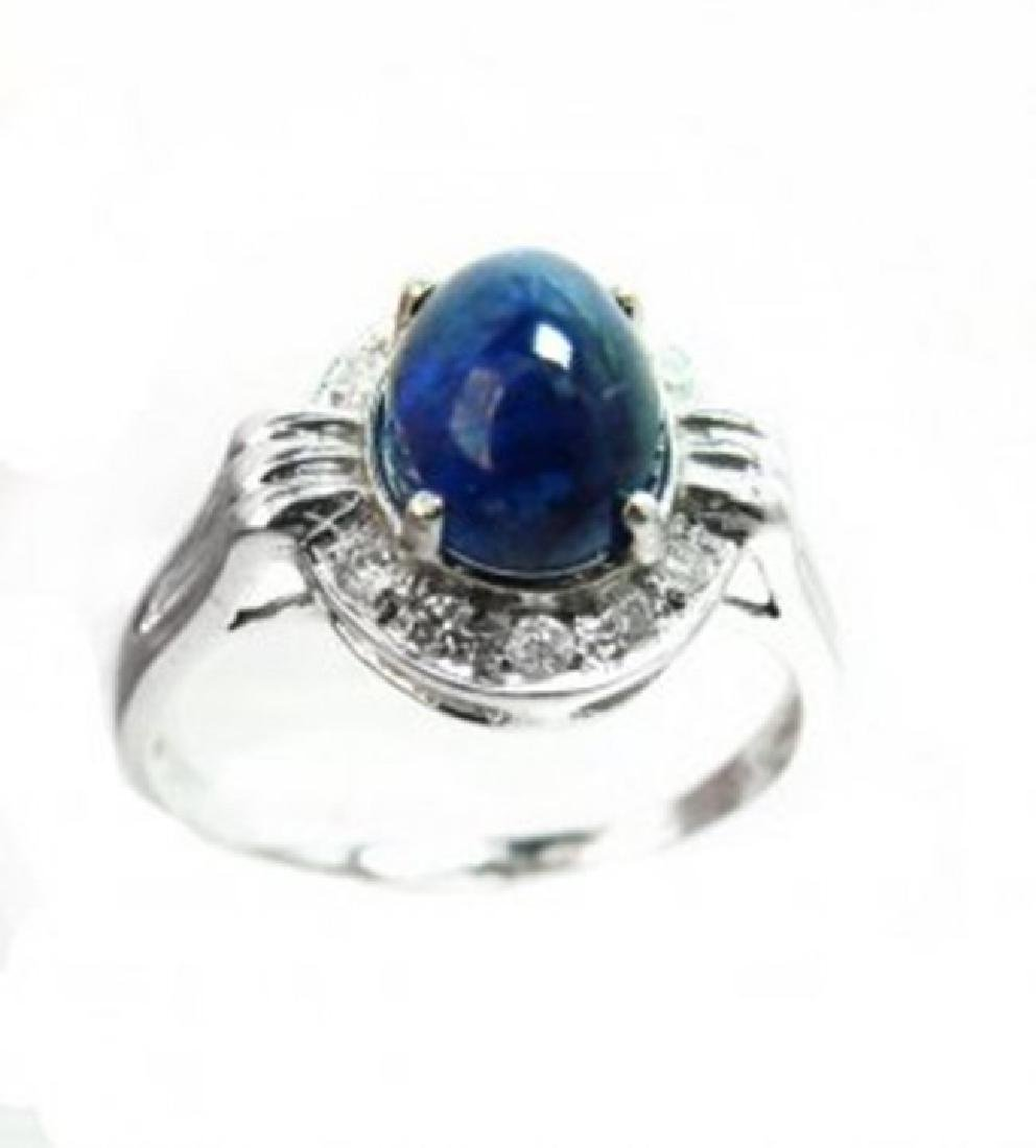 Blue Sapphire Cabochon Diamond Ring 2.85Ct 14k W/g