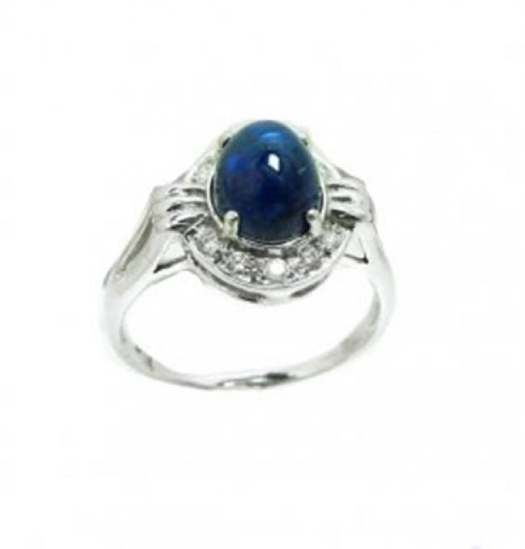 Blue Sapphire Cabochon Diamond Ring 2.85Ct 14k W/g - 2