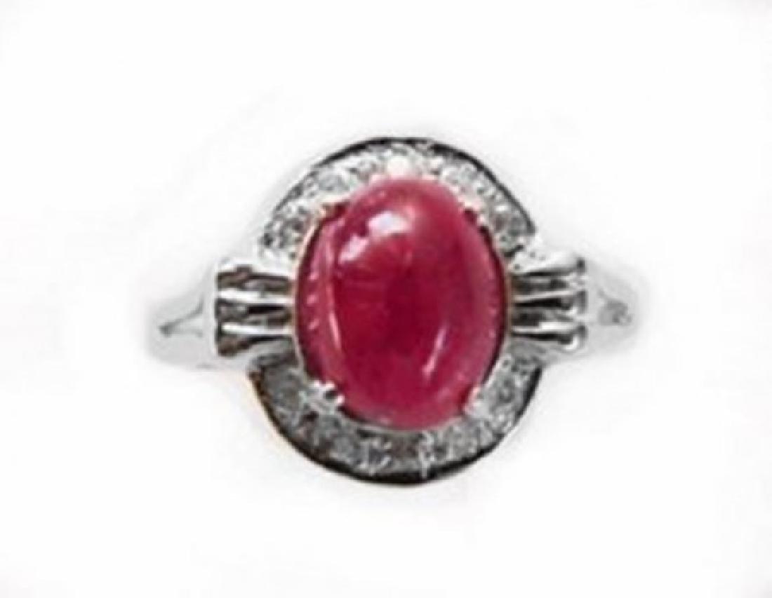 Anniversary Ruby Cabochon Diamond Ring 2.91Ct 14k W/g