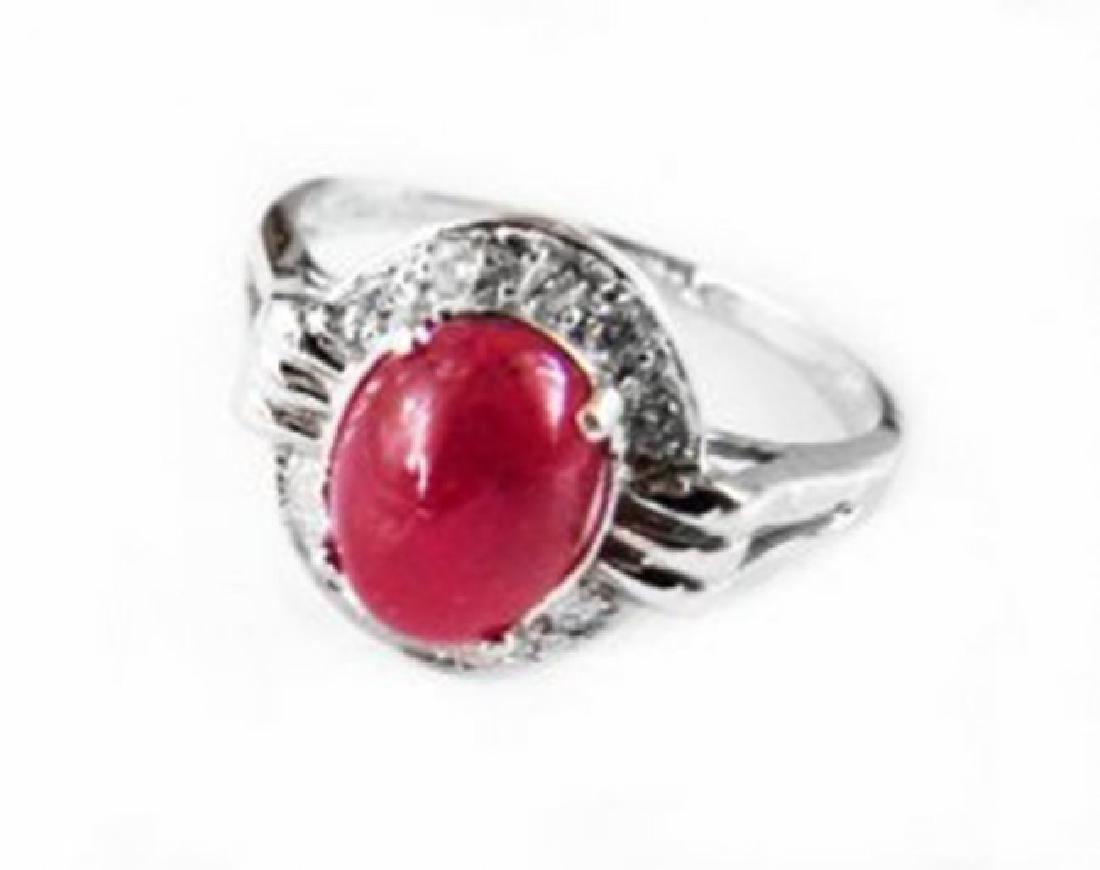Anniversary Ruby Cabochon Diamond Ring 2.91Ct 14k W/g - 2