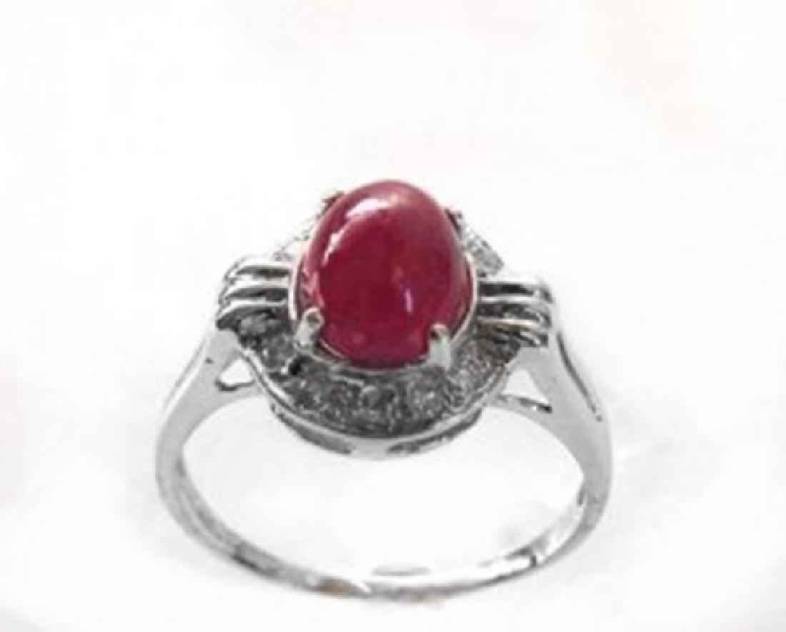 Anniversary Ruby Cabochon Diamond Ring 2.91Ct 14k W/g - 3
