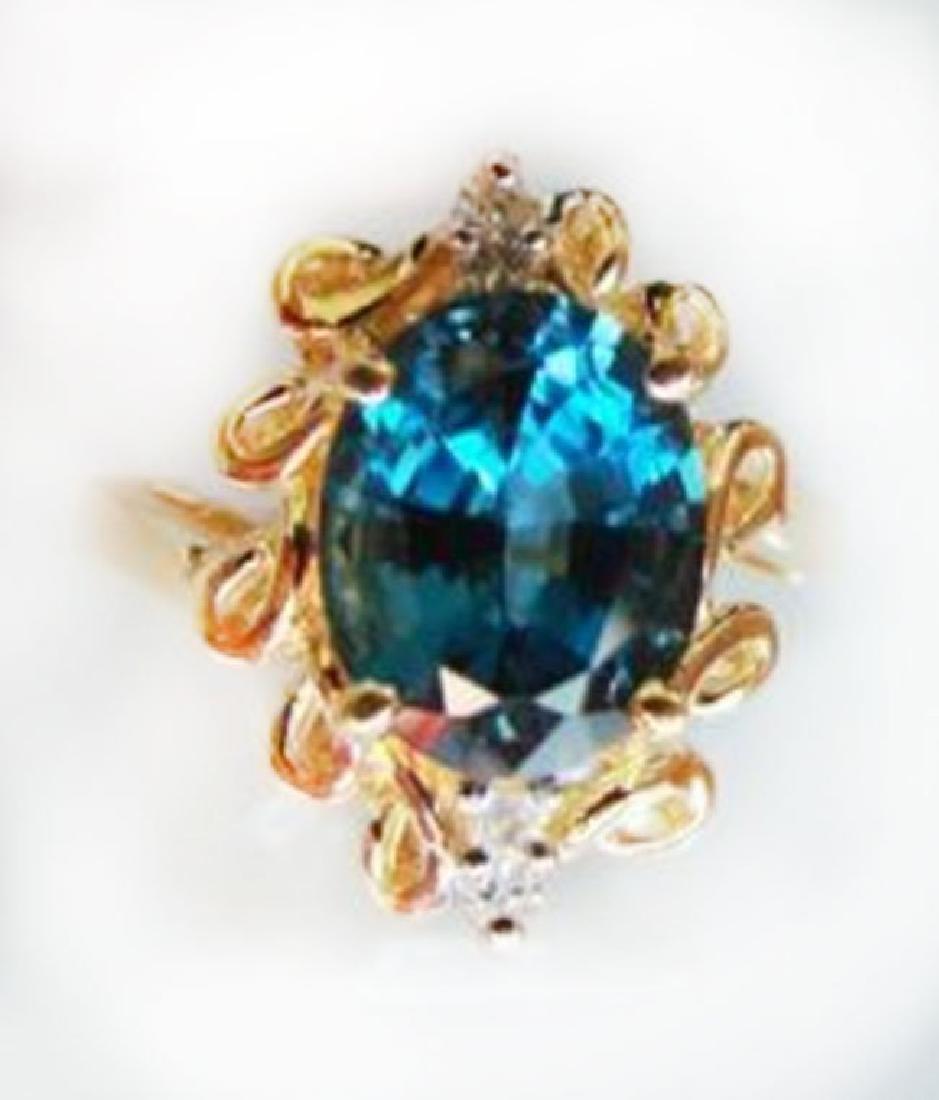 Ring Natural London Blue Topaz Diamond 3.64Ct 14k Y/g - 2