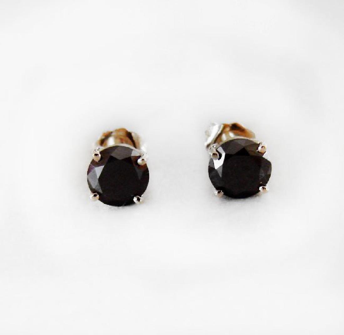 Black Diamond Stud Earrings 1.72Ct 14k Y/g