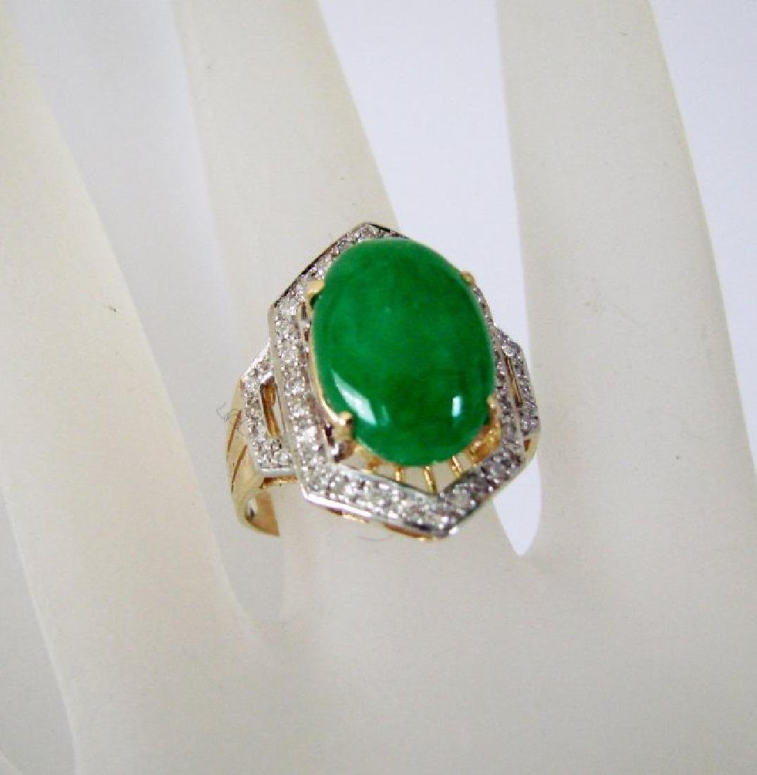 Natural Diamond- Jadeite Jade Ring 4.72Ct 18k Y/g - 2