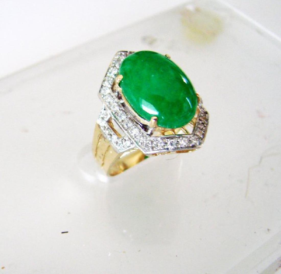 Natural Diamond- Jadeite Jade Ring 4.72Ct 18k Y/g - 3