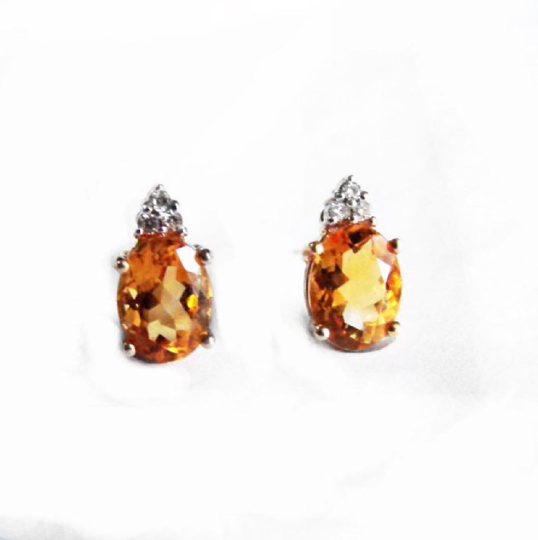 Golden Citrine Diamond Stud Earrings 2.64Ct 14k Y/G