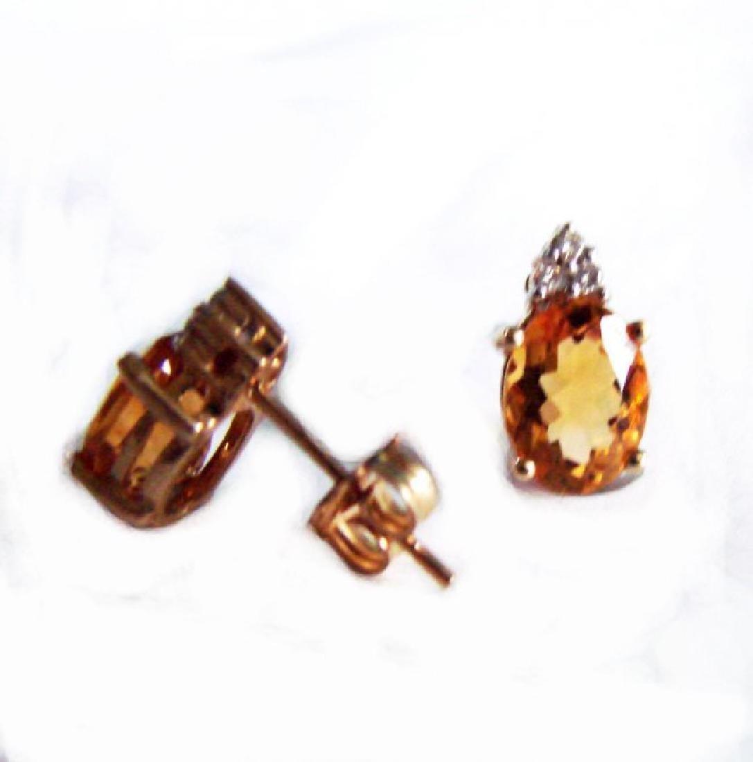 Golden Citrine Diamond Stud Earrings 2.64Ct 14k Y/G - 2