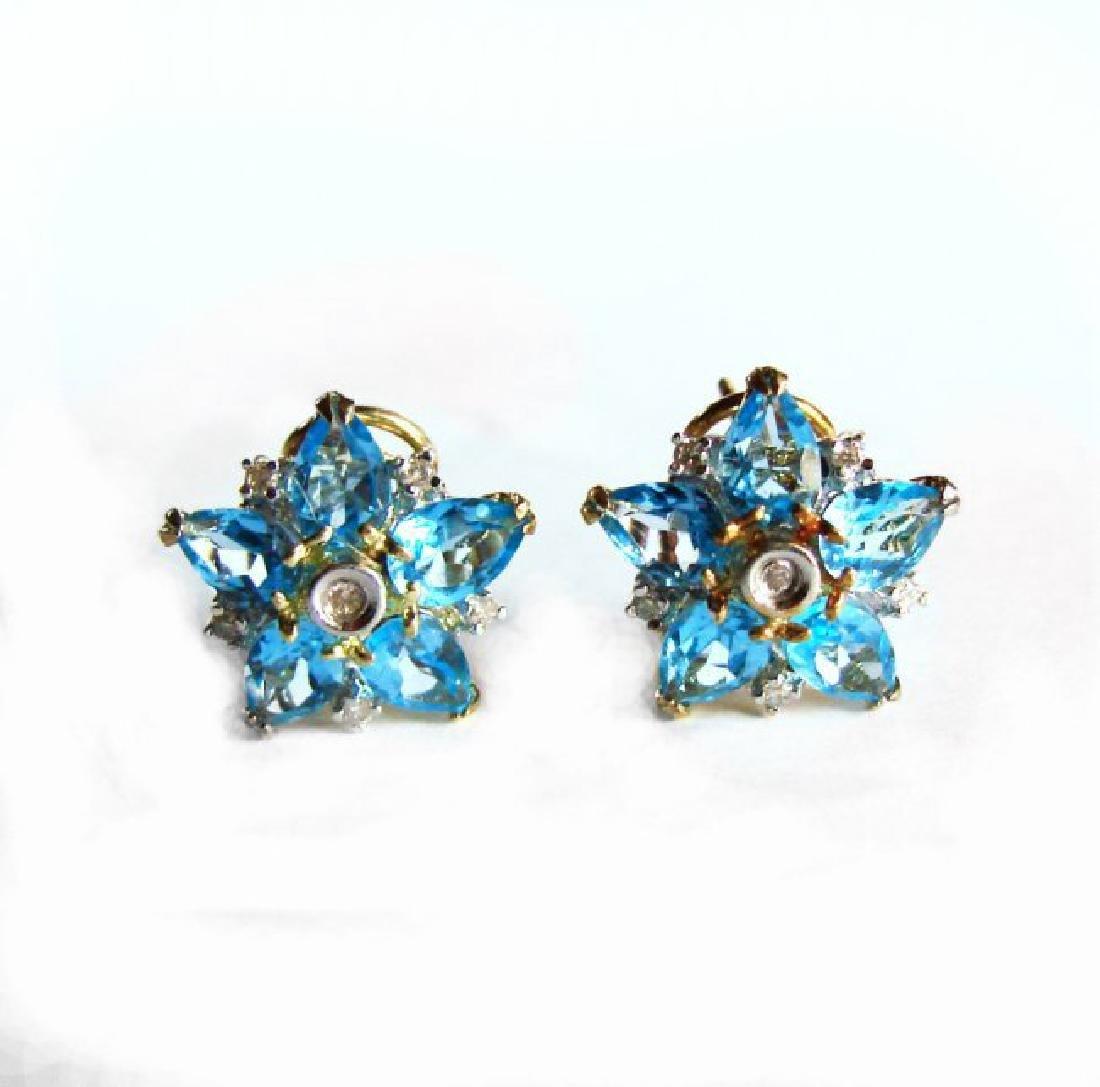 Swiss Blue Topaz Diamond Star Earrings 4.94Ct 14k Y/G