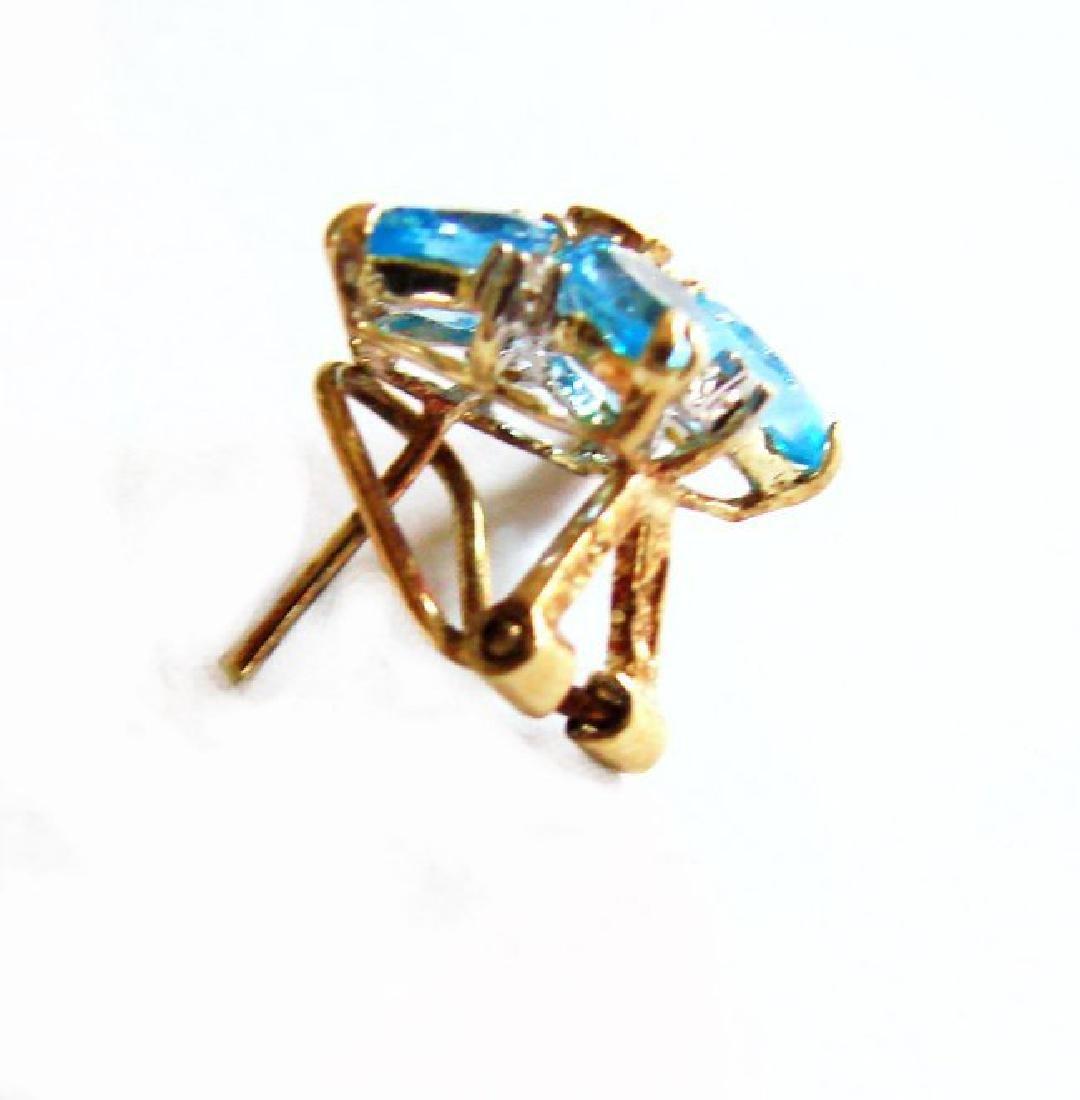 Swiss Blue Topaz Diamond Star Earrings 4.94Ct 14k Y/G - 2