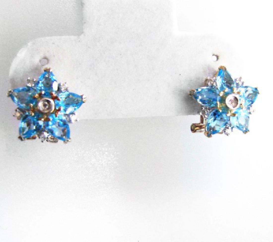 Swiss Blue Topaz Diamond Star Earrings 4.94Ct 14k Y/G - 4