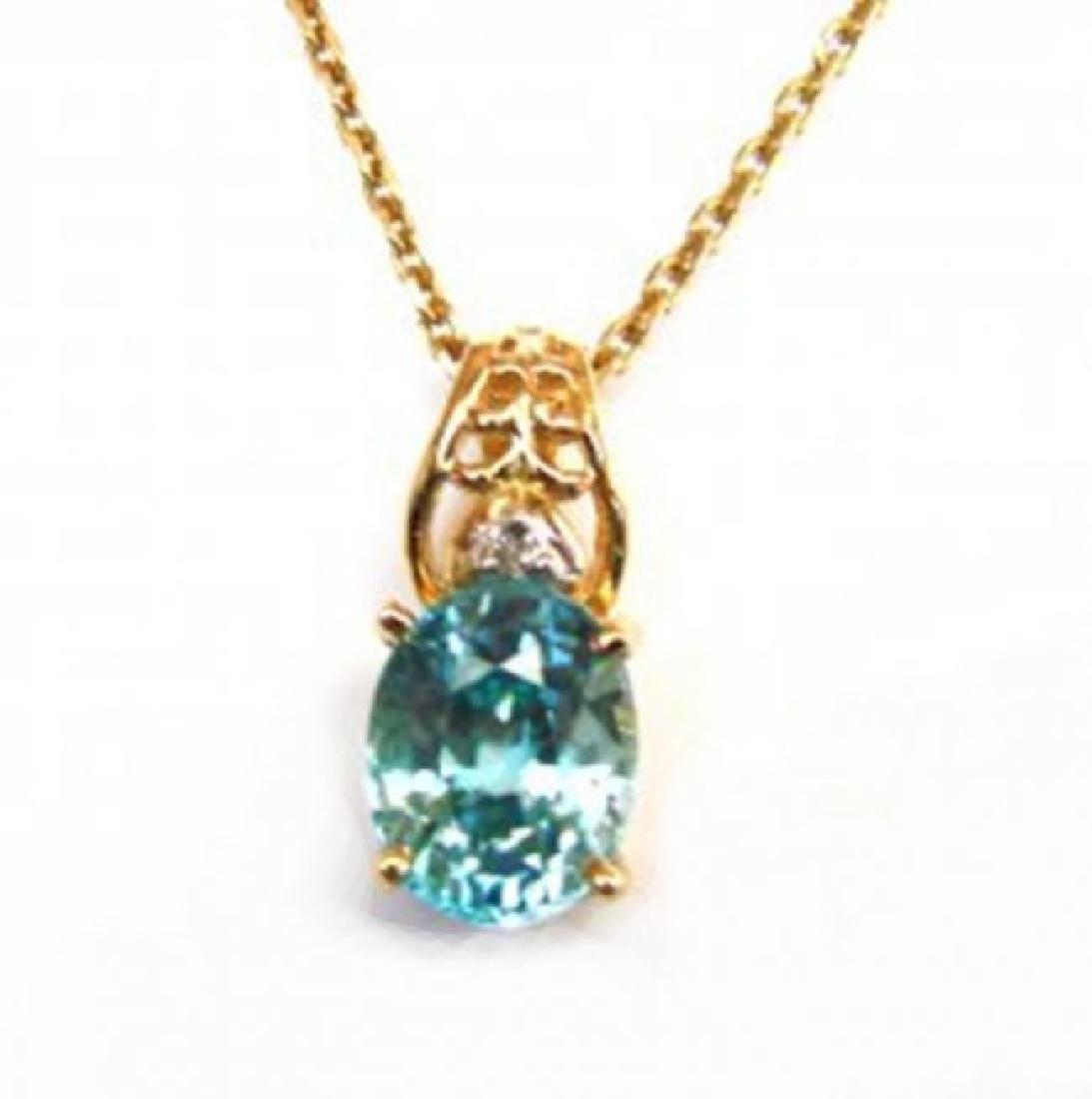 Diamond Blue Zircon Pendant 4.53Ct 14k Y/G