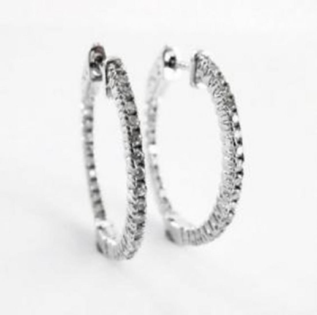 Diamond Hoop Earrings 1.15Ct 14k W/G - 2