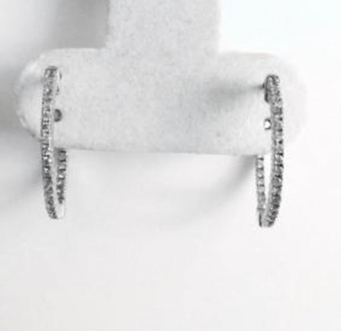 Diamond Hoop Earrings 1.15Ct 14k W/G - 3