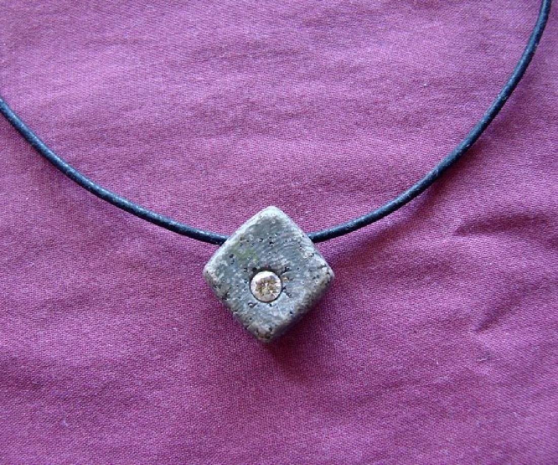 Diamond Design Square Shape Pendant .50Ct Leather Chain