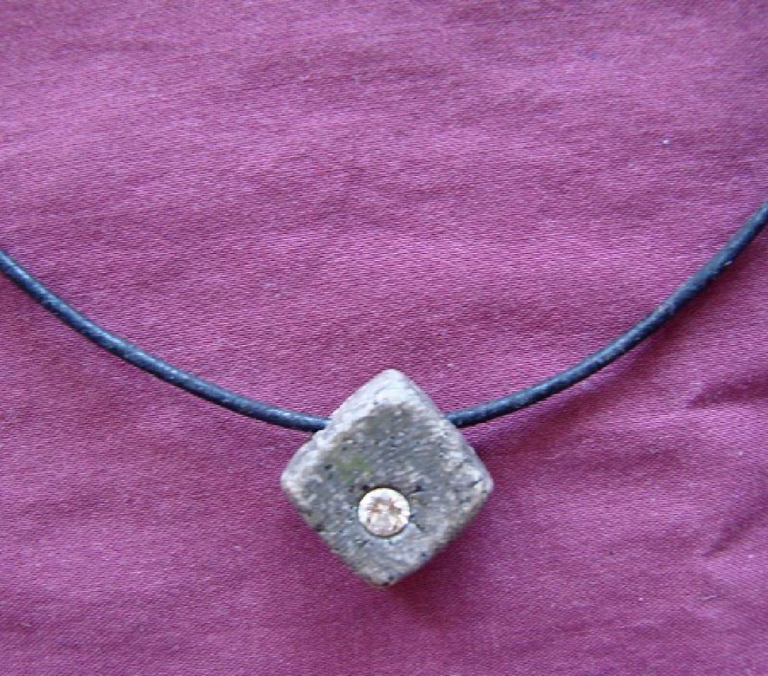 Diamond Design Square Shape Pendant .50Ct Leather Chain - 2