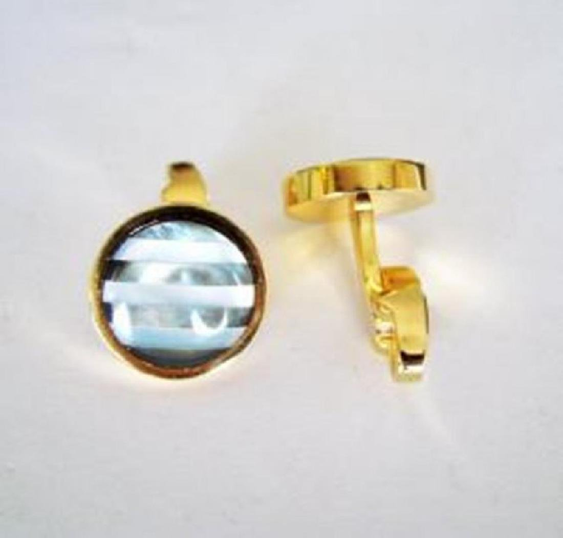 Men Cufflink Slainless Mother Pearl Round 18k Y/g Over - 2