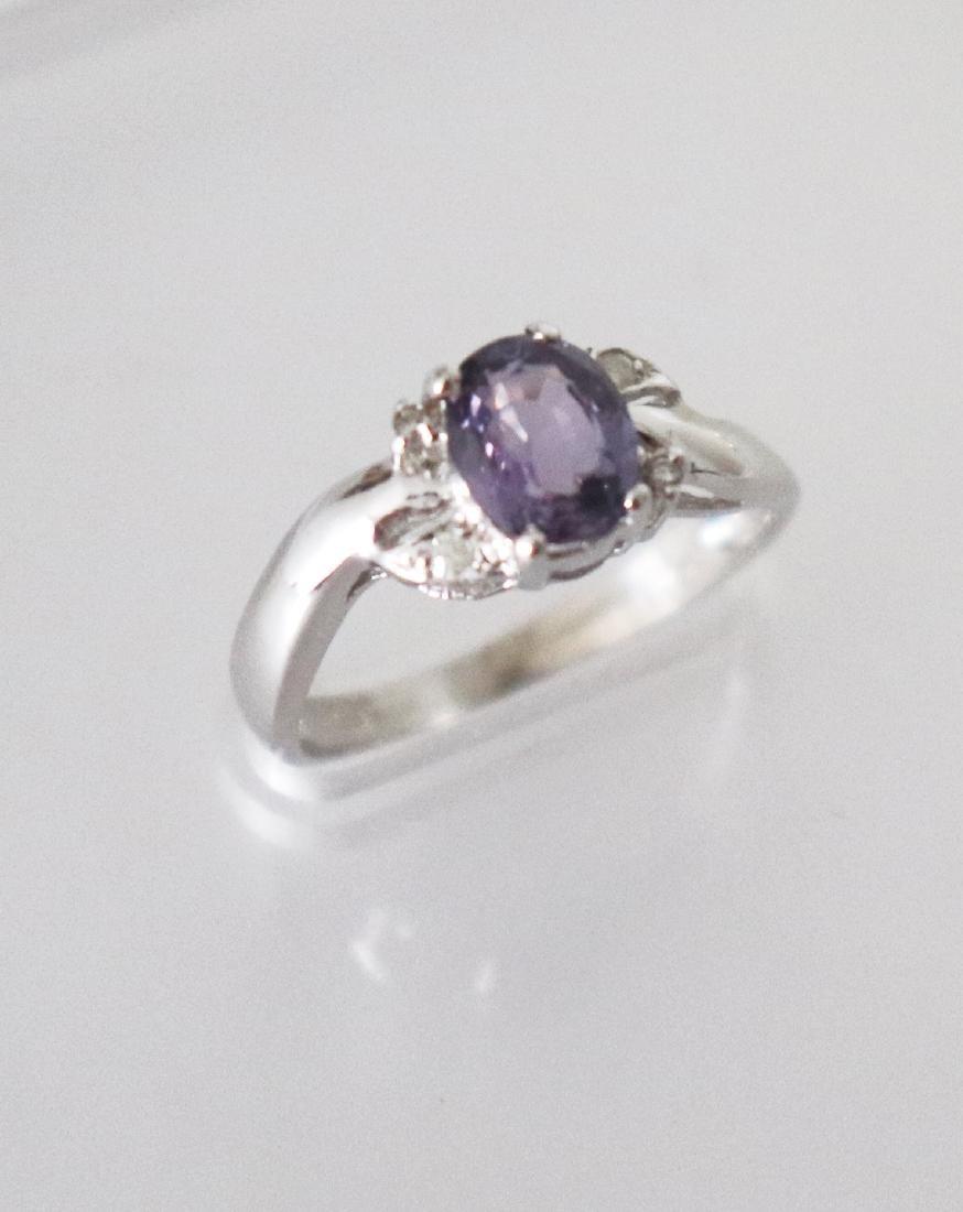 Anniversary Pinkish Violet Sapphire  Diamond Ring