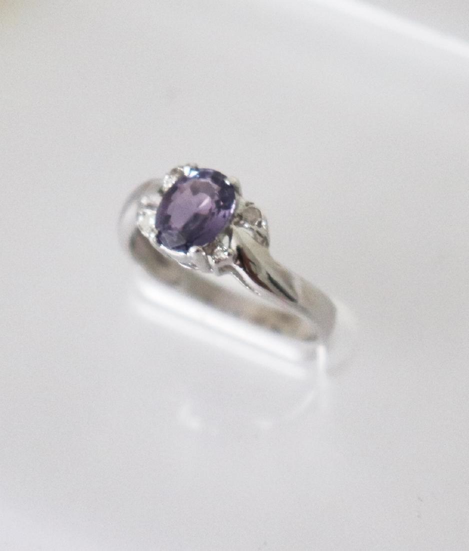 Anniversary Pinkish Violet Sapphire  Diamond Ring - 2