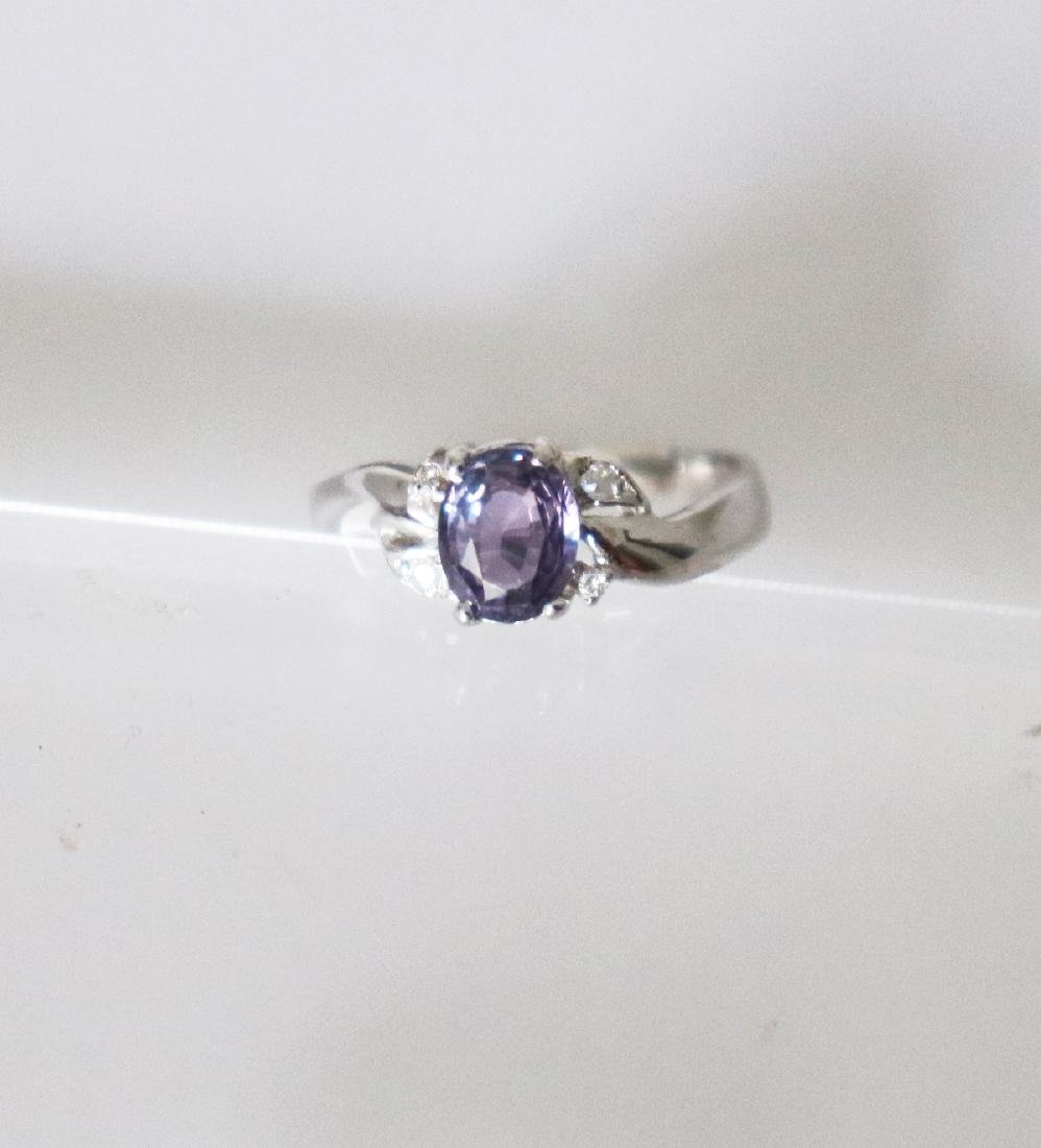 Anniversary Pinkish Violet Sapphire  Diamond Ring - 3
