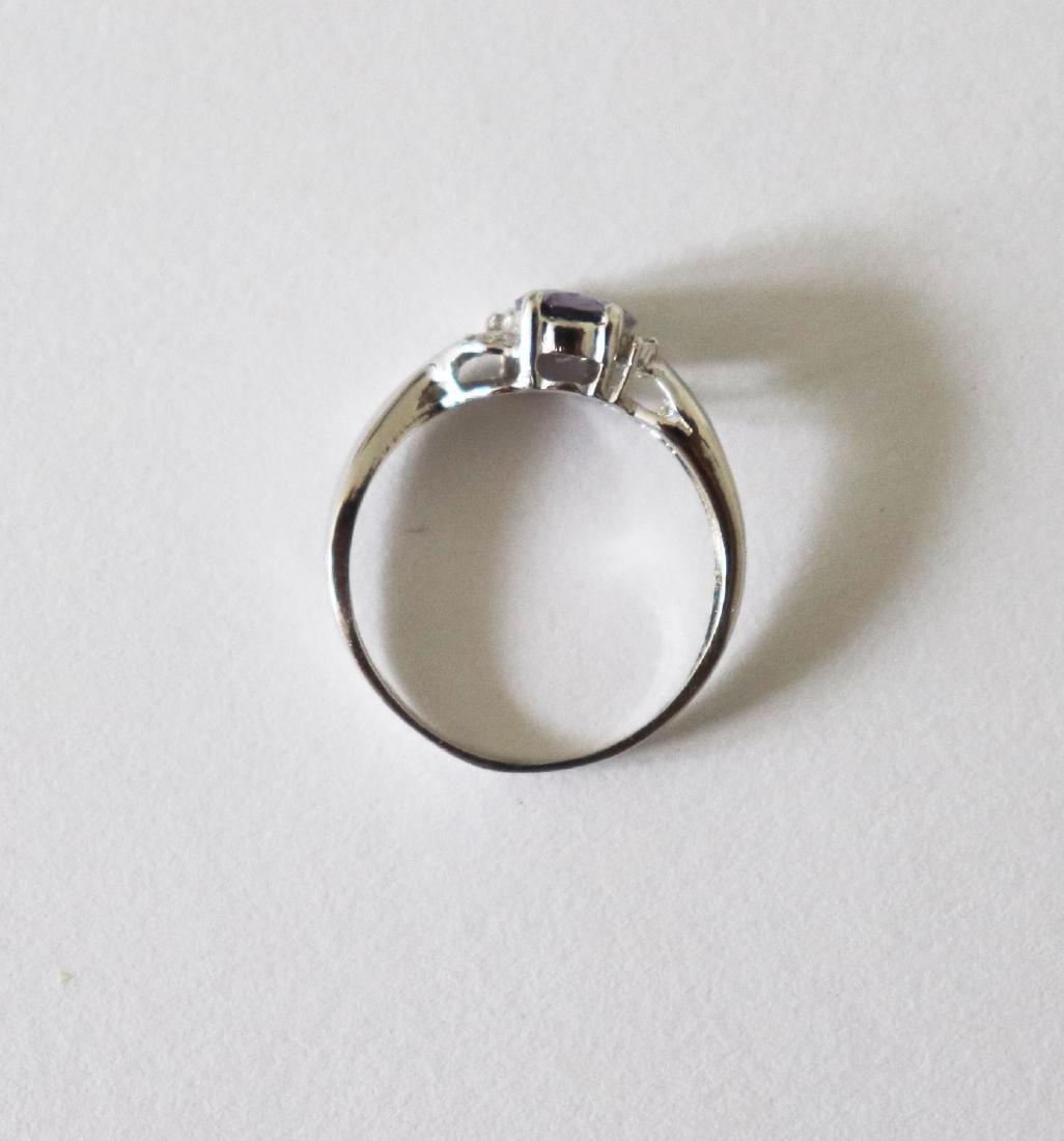 Anniversary Pinkish Violet Sapphire  Diamond Ring - 4