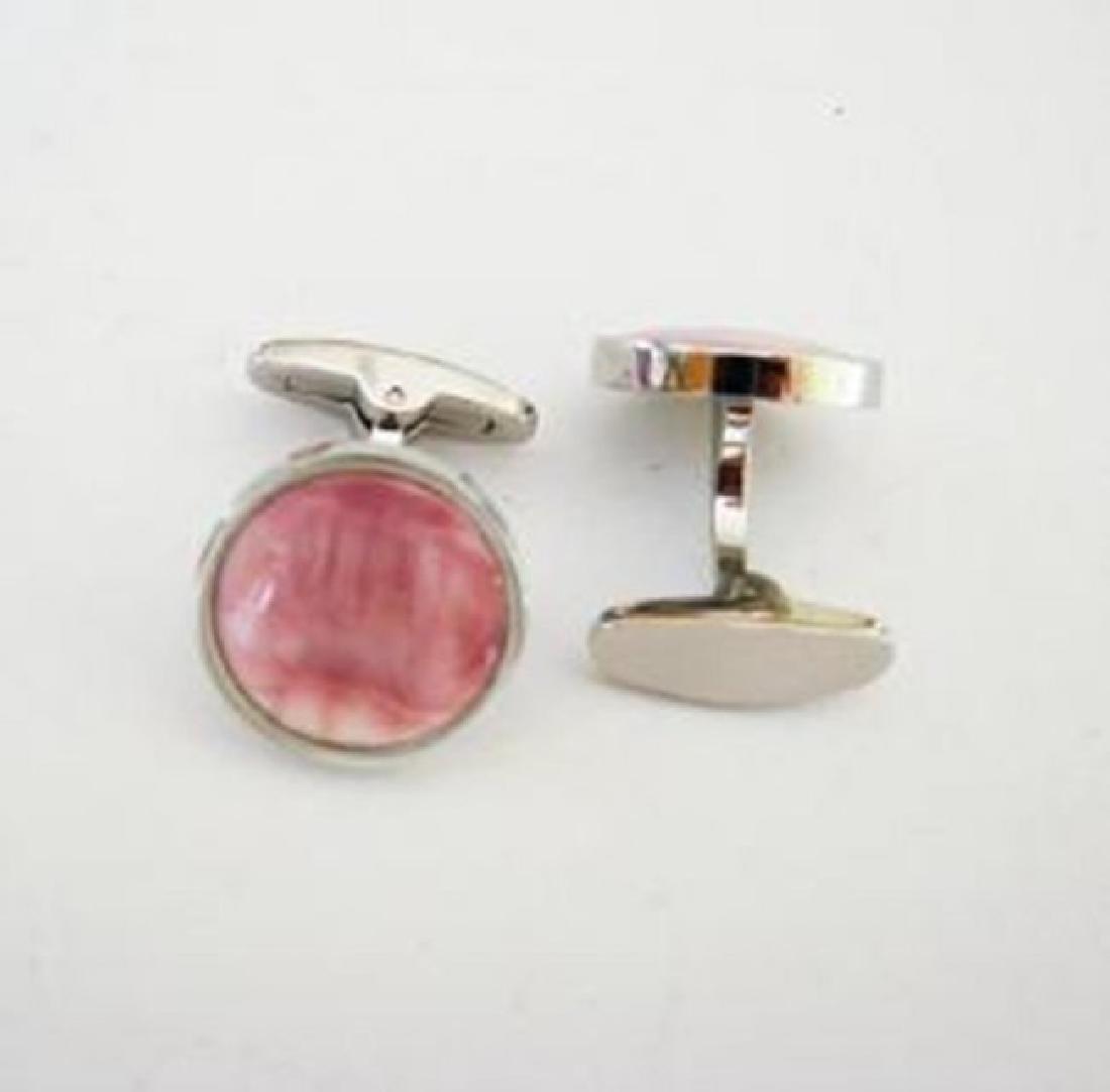Men Cufflink Pink Rhodonite Round 18k W/g Overlay - 2