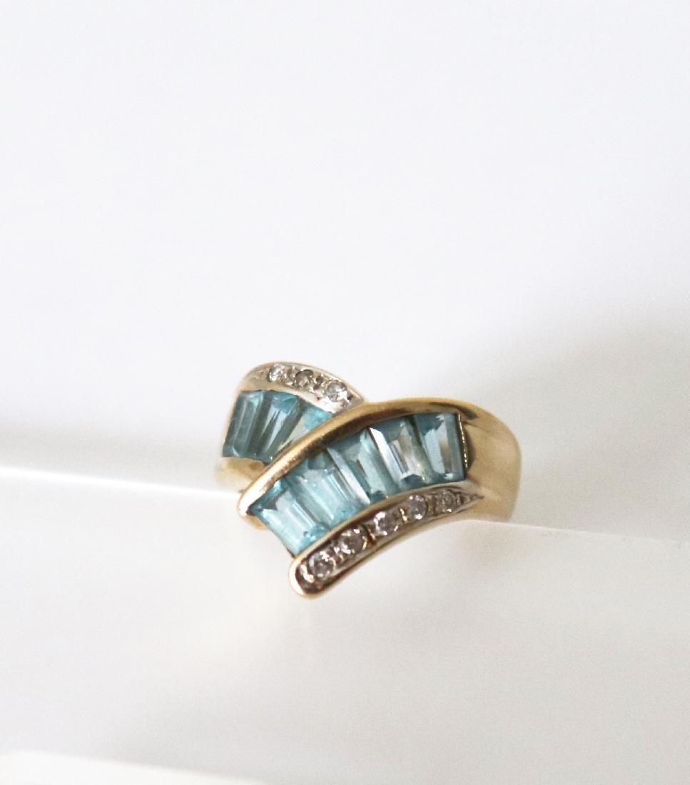 Aquamarine Diamond Ring 1.83 CT 14k Yellow Gold