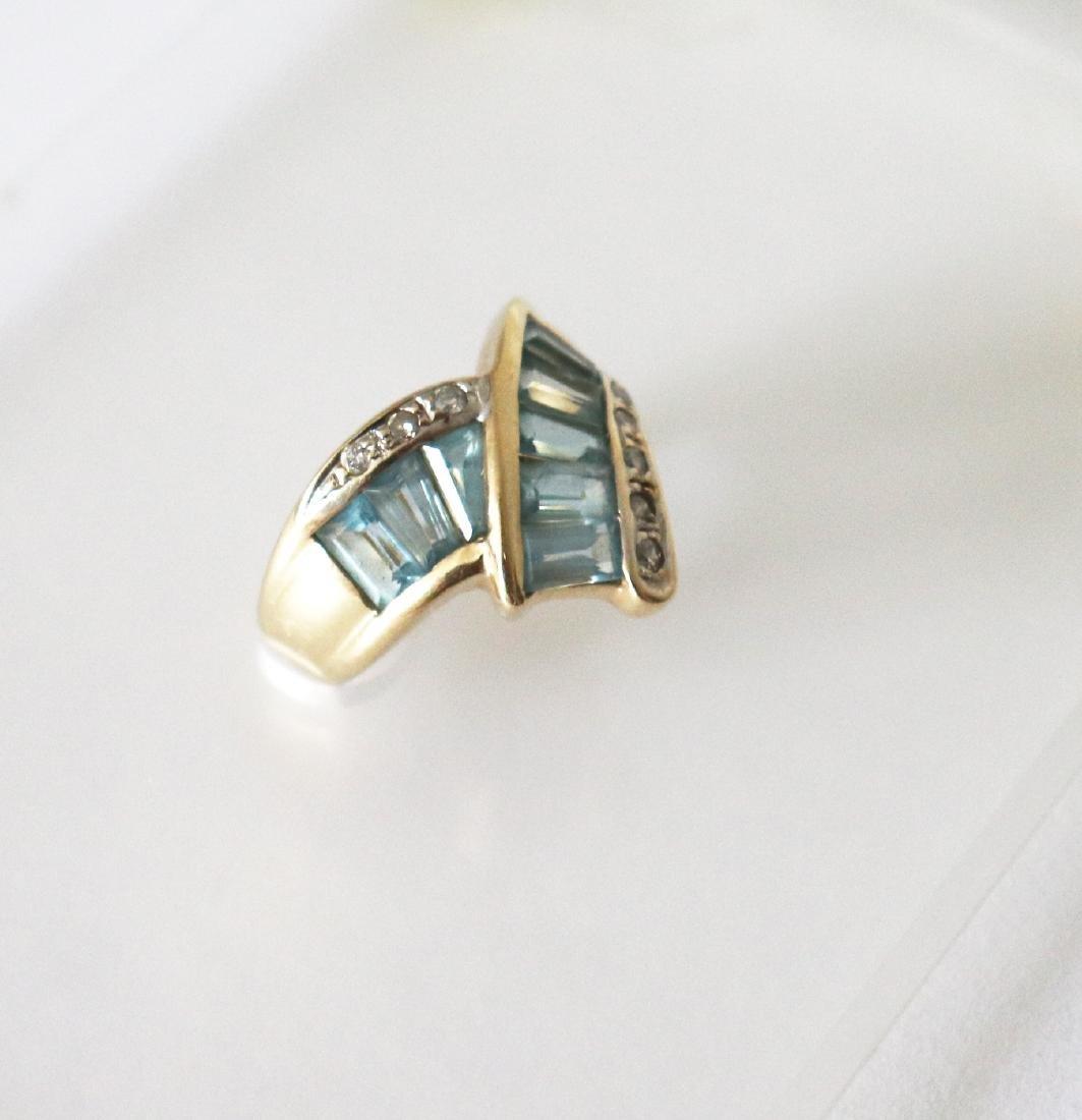 Aquamarine Diamond Ring 1.83 CT 14k Yellow Gold - 2