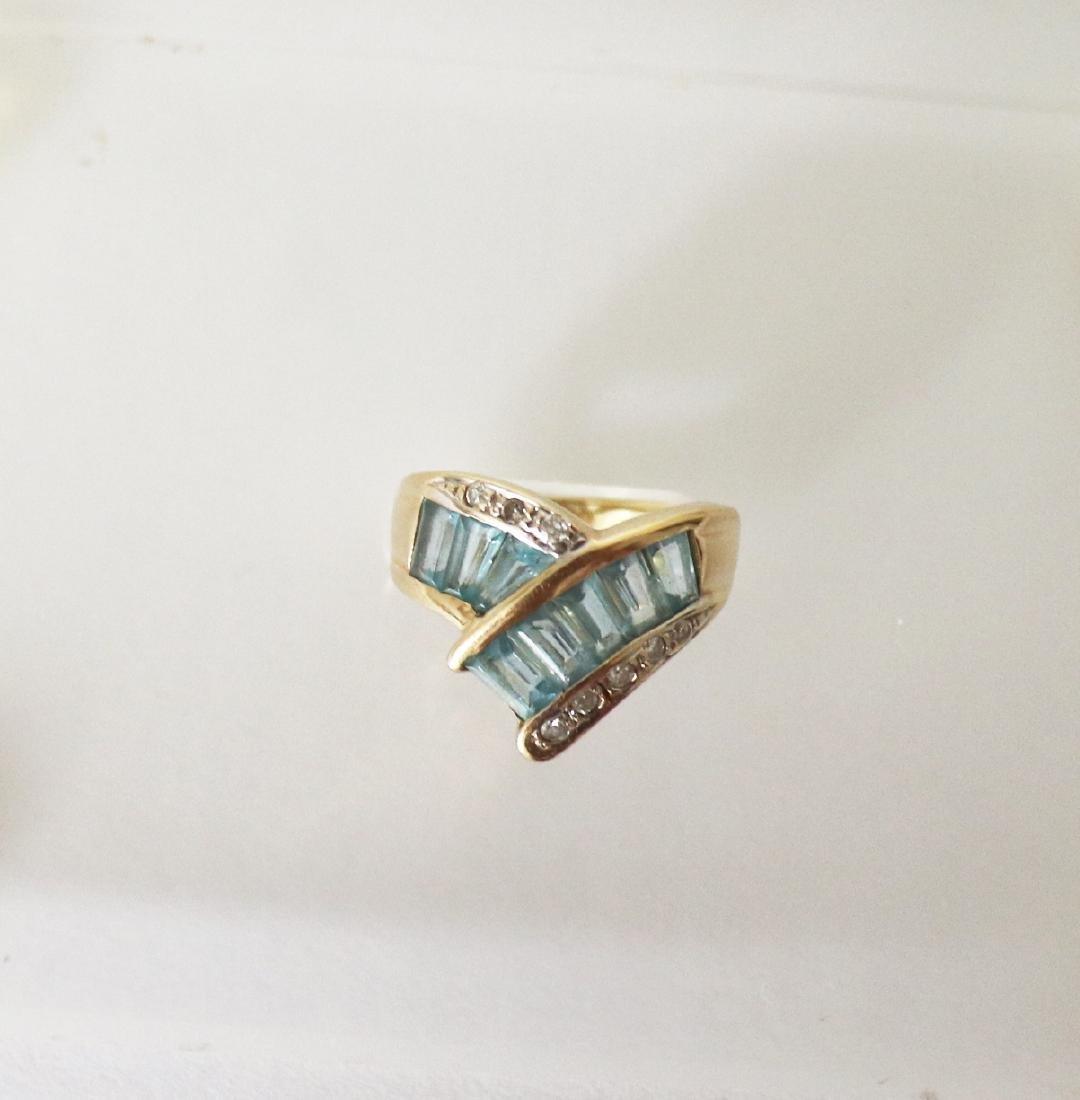 Aquamarine Diamond Ring 1.83 CT 14k Yellow Gold - 3
