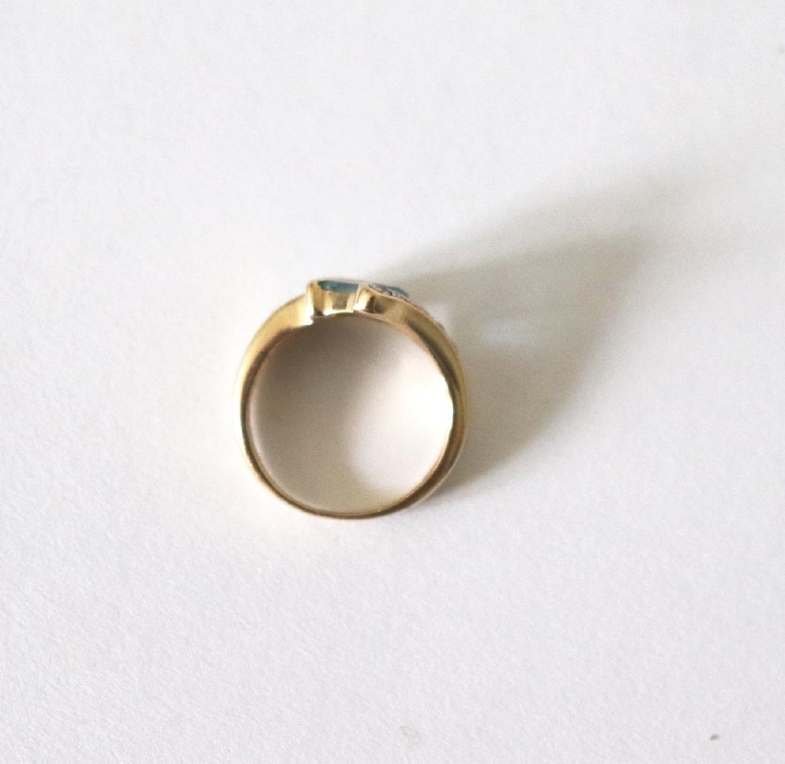 Aquamarine Diamond Ring 1.83 CT 14k Yellow Gold - 4
