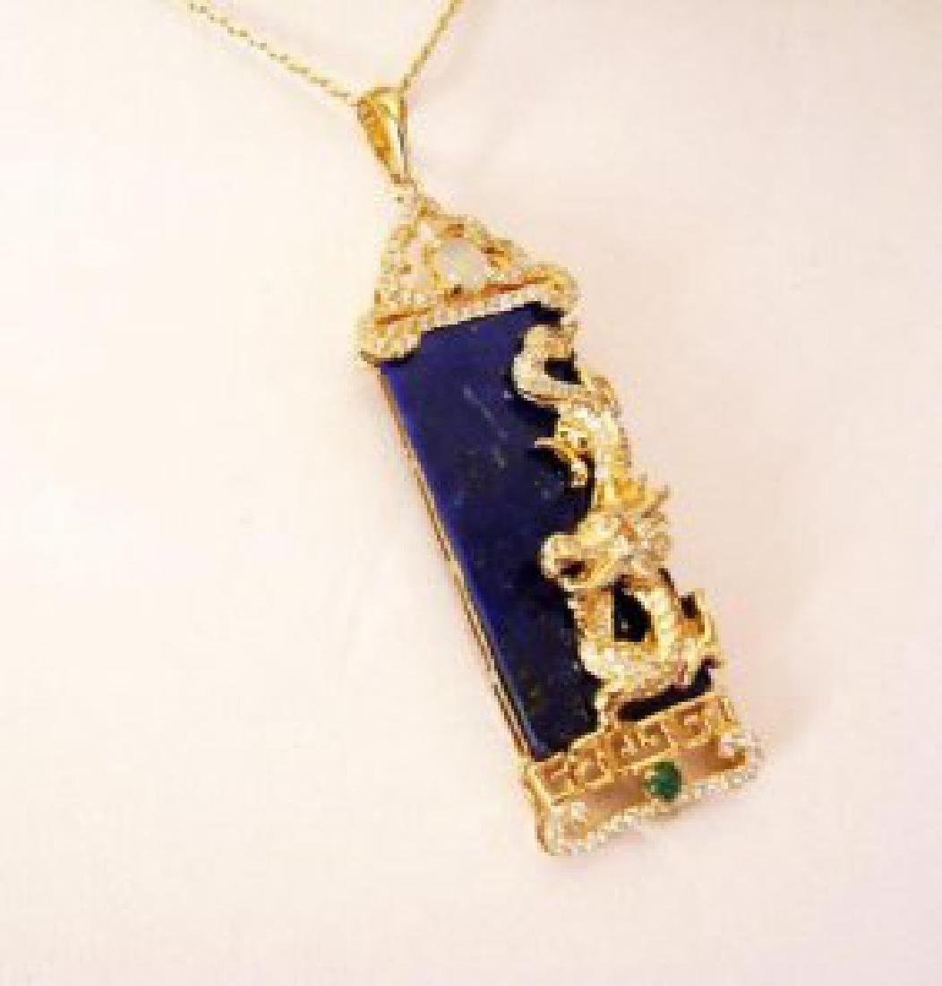 Natural Lapis Creation Diamond 25.11Ct 18k Y/g Overlay - 2