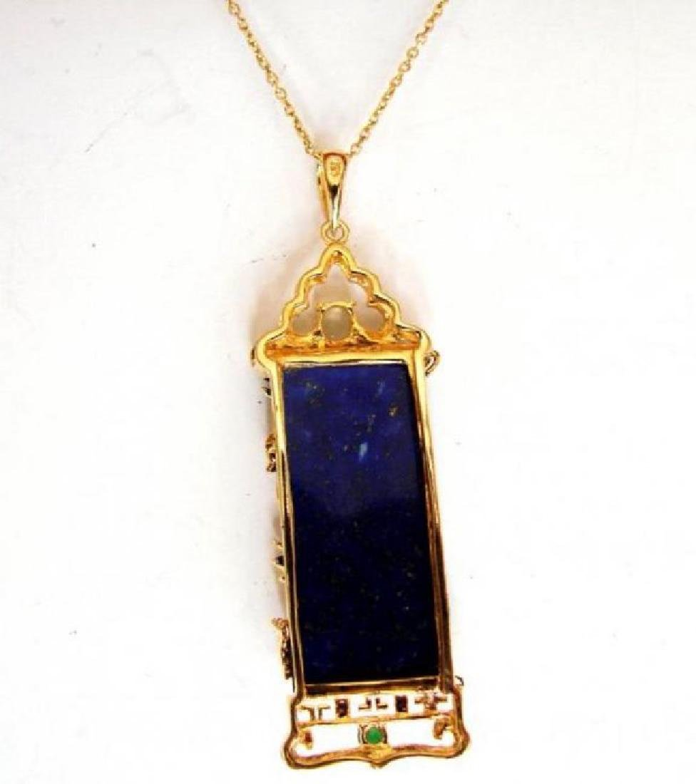 Natural Lapis Creation Diamond 25.11Ct 18k Y/g Overlay - 3
