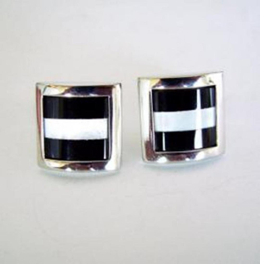Men Cufflink Onyx Mother Pearl 18k W/g Overlay