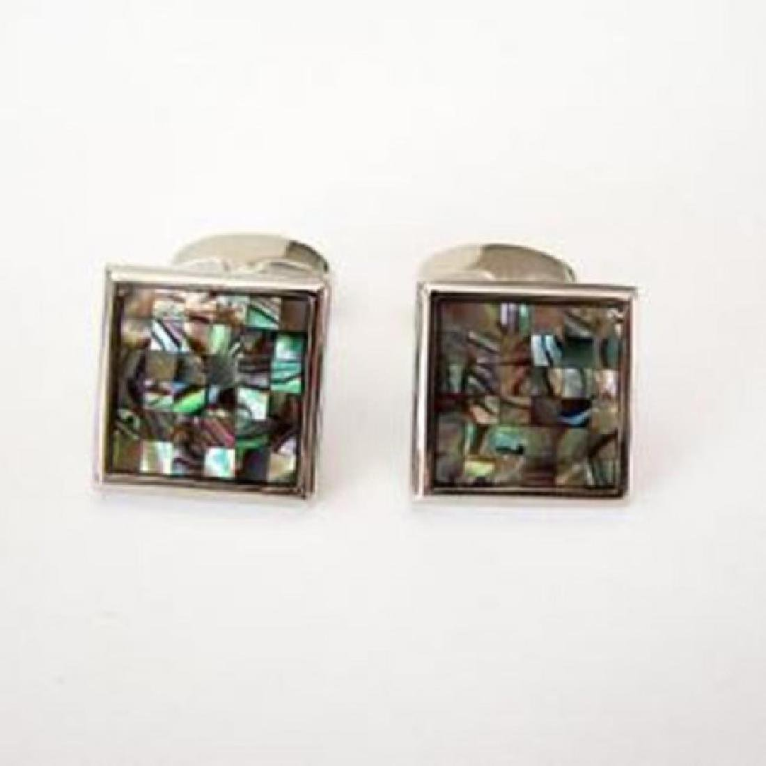 Men Cufflink Mother Pearl 18k W/g Overlay