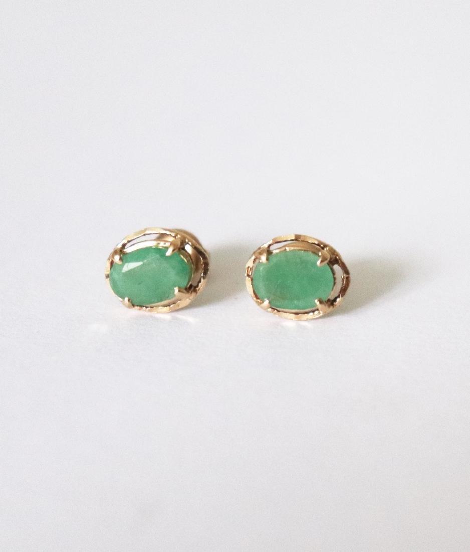 Natural Emeraldl Stud Earring 3.54Ct 18k R/g