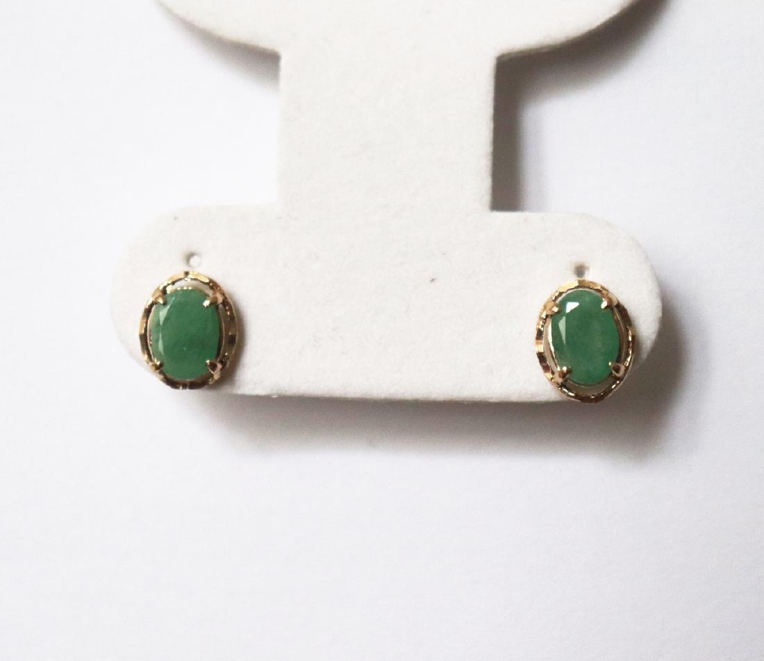Natural Emeraldl Stud Earring 3.54Ct 18k R/g - 2