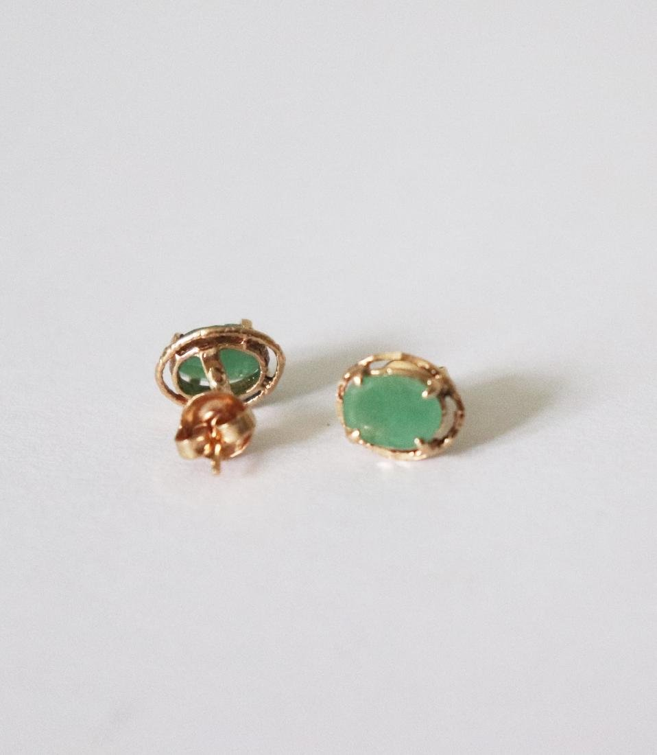 Natural Emeraldl Stud Earring 3.54Ct 18k R/g - 3