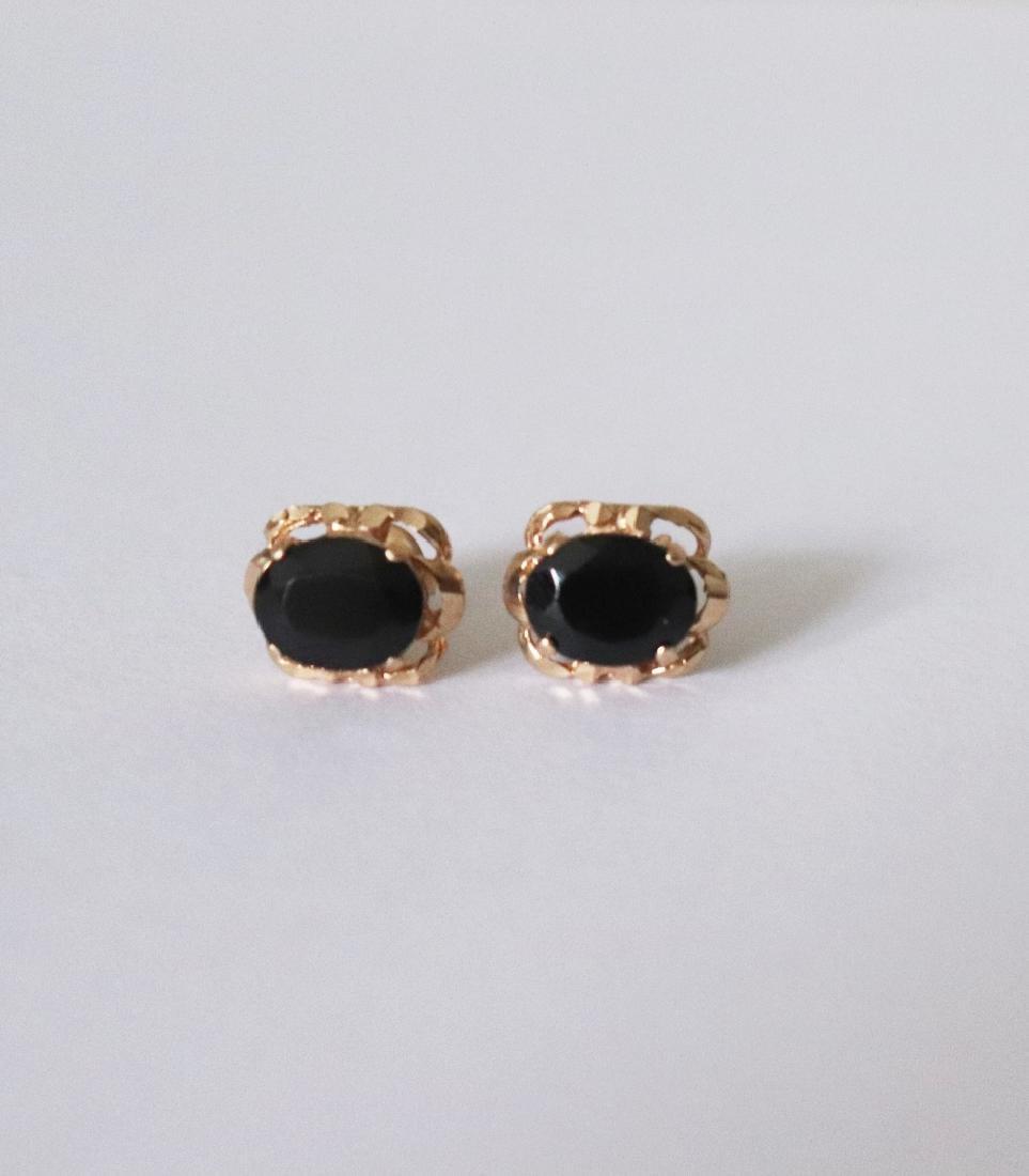 Natural Onyx Stud Earring 5.24Ct 18k R/g